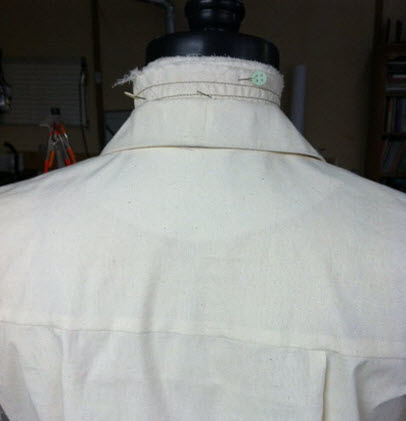 The back neckline and collar. Make sure your model's hair is up!